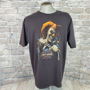 Vtg Harley Davidson Tshirt Creepy Clown XL Gray